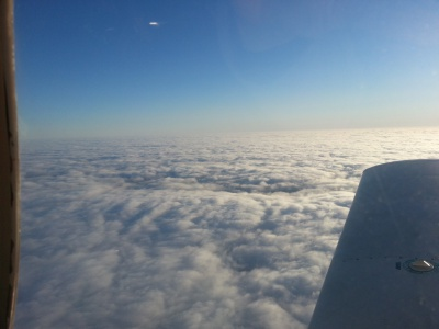 Flying over a cloud layer