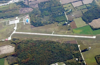 Aerial view of Lake Simcoe Regional Airport